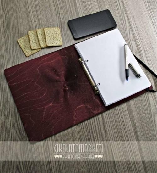 Anı Koleksiyonu Yazılı Ahşap Kapaklı Özel Üretim Şık Defter