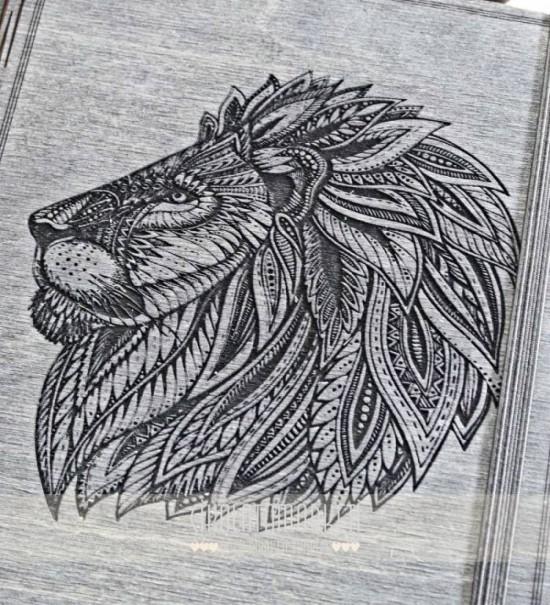 Arslan Figürü Oymalı Ahşap Kapaklı Özel Üretim Şık Defter