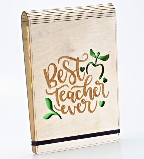 Best Teacher Ever Yazılı Ahşap Kapaklı A5 Boyutunda Defter