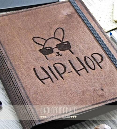 Hip-Hop Figürlü Ahşap Kapaklı Özel Üretim Şık Defter