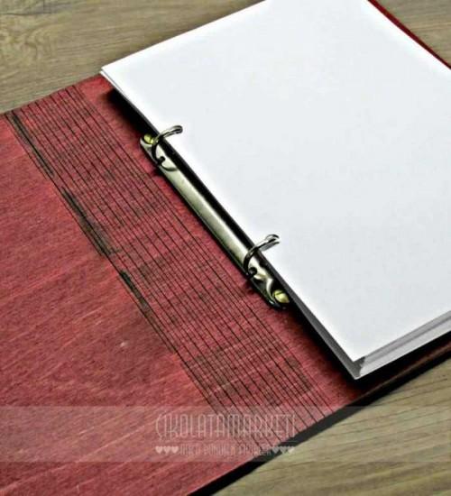 Recipe Book Yazılı Ahşap Kapaklı Özel Üretim Şık Defter