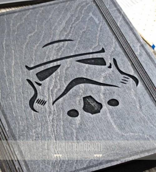 Stormtrooper Figürlü Ahşap Kapaklı Özel Üretim Şık Defter