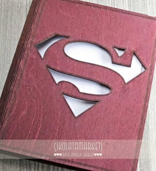 Süperman Logolu Ahşap Kapaklı Özel Üretim Şık Defter