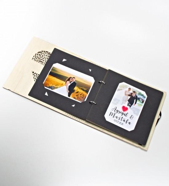 Kişiye Özel İsimli ve Tarihli Kalpli Ahşap Kendin Yap Fotoğraf Albümü / Düğün Albümü