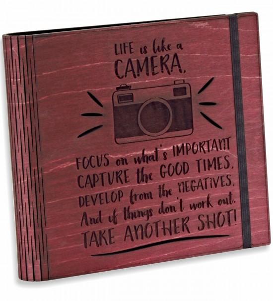 Life is Like a CAMERA... Fotoğraf Makinesi Figürlü Maun Ahşap Kendin Yap Fotoğraf Albümü