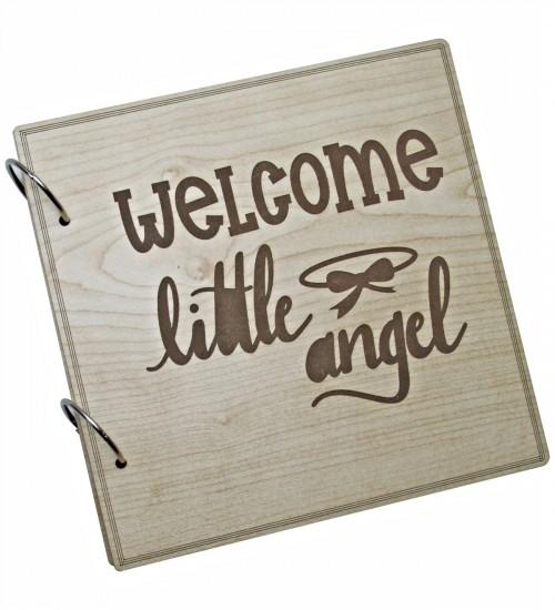 Welcome Little Angel Yazılı Ahşap Kendin Yap Fotoğraf Albümü  - 60 Sayfa