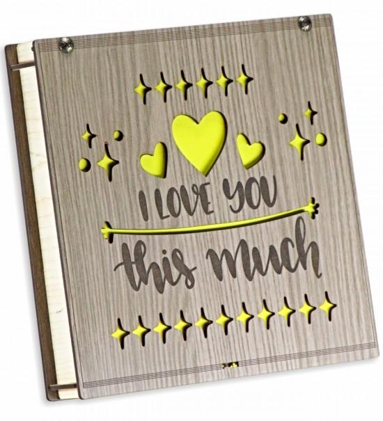 I Love You This Much Yazılı Ahşap Kutulu Hediye Çikolata