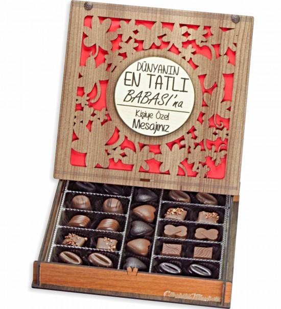 Babalar Gününe Özel Kişisel Mesajınızı Yazabileceğiniz Ahşap Kutulu Hediyelik Çikolata