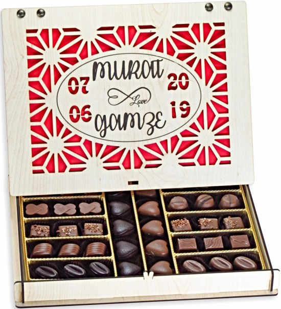 İsimli ve Tarihli Spesiyal Çikolatalı Büyük Boy Nişan / Söz / Kız İsteme Çikolatası