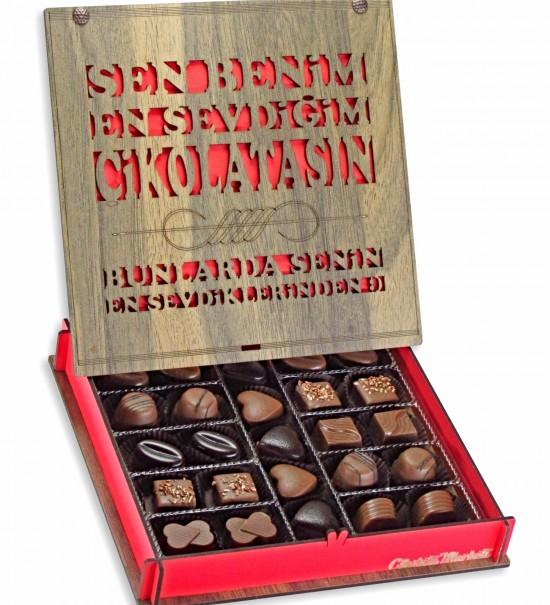 Sen Benim En Sevdiğim Çikolatamsın... Yazılı Ahşap Kutulu Hediyelik Çikolata