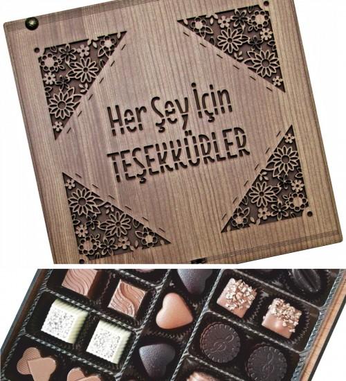 Her Şey İçin Teşekkürler Yazılı Ahşap Kutulu Hediyelik Çikolata