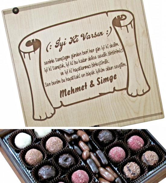 Kişiye Özel İyi ki Varsın Yazılı Şiirli Ahşap Kutulu Hediyelik Çikolata