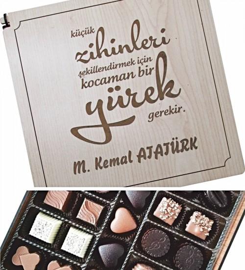 Kişiye Özel Öğretmenler Gününüz Kutlu Olsun Ahşap Kutulu Çikolata