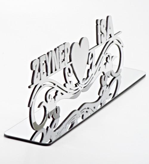 Ayna Pleksi Düğün/Nişan/Söz İçin Uygun Masa İsimliği