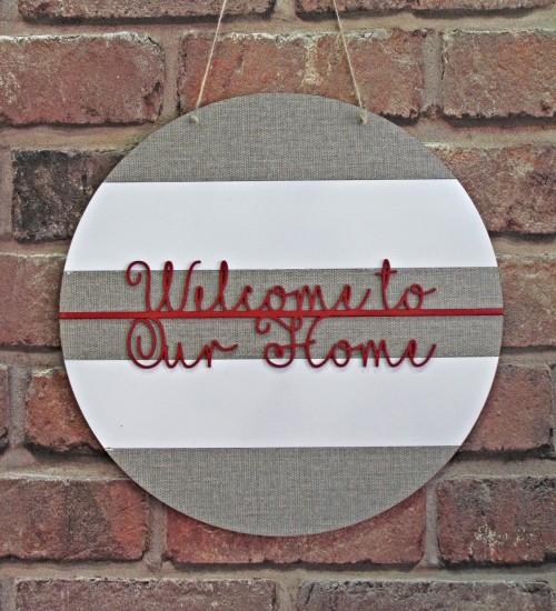 Welcome To Our Home Yazılı Ahşap Kapı / Duvar Süsü