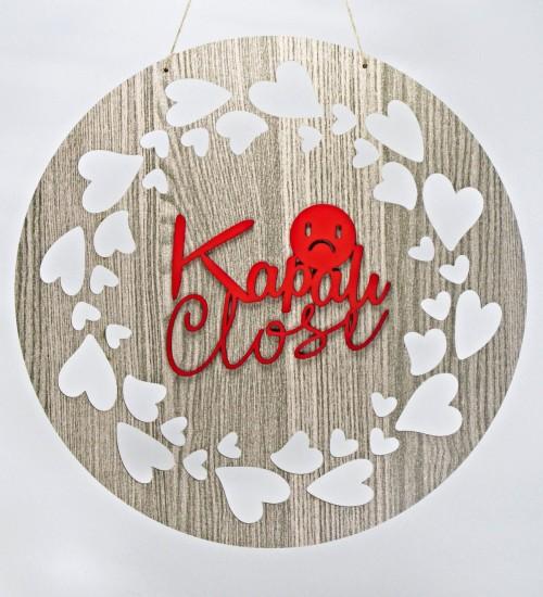 Mağazalara Özel Çift Taraflı Açık/Kapalı Yazılı Kalp Süslemeli Ahşap Kapı Süsü