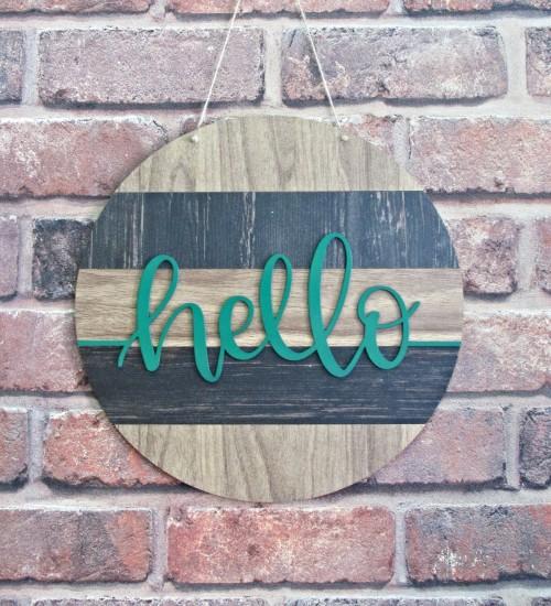 Hello Yazılı Ahşap Kapı / Duvar Süsü