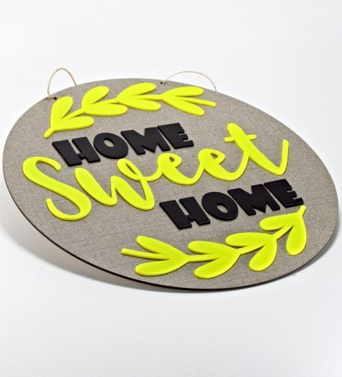 Home Sweet Home Yazılı Süslemeli Ahşap ve Pleksi Kapı Süsü