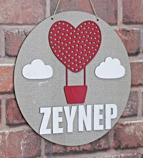 Kişiye Özel İsimli Kırmızı Kalpli ve Balonlu Bebek/Çocuk Odası Ahşap Kapı Süsü (Kız)