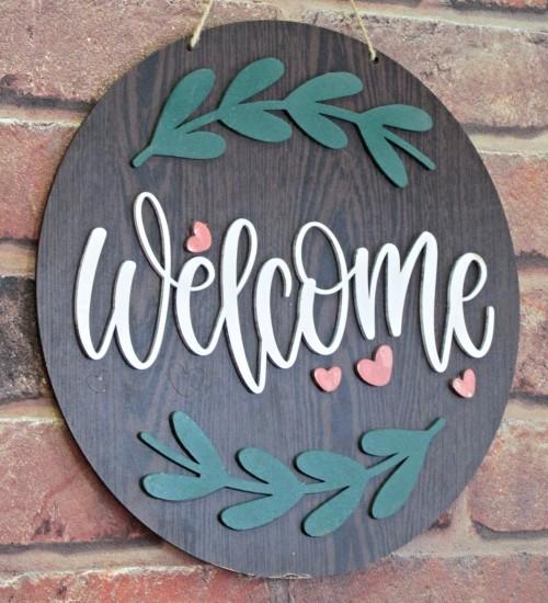Welcome Yazılı Süslemeli Ahşap Kapı Süsü