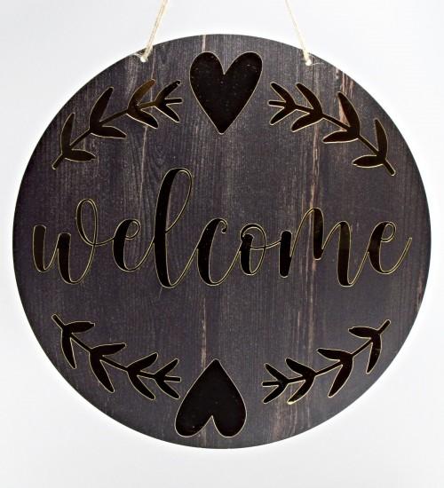 Welcome Yazılı Kalp Süslemeli Ahşap ve Pleksi Kullanılarak Yapılan Kapı Süsü