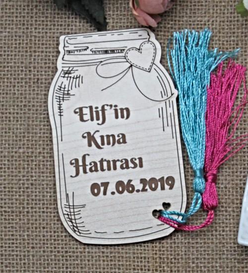 Kavanoz Figürlü İsimli ve Tarihli Ahşap Nikah / Nişan / Düğün / Kına veya Doğum Magneti